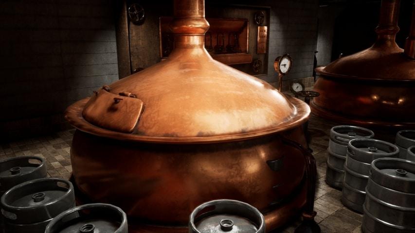 Innenraum der Brauerei-Kessel