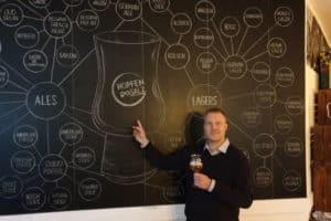 Der Sommelier vor der Bier-Stammbaum-Tafel